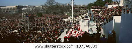 Maya Angelou delivers poem on Bill Clinton's Inauguration Day January 20, 1993 in Washington, DC - stock photo