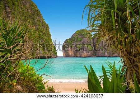 Maya bay of Phi-Phi island - stock photo