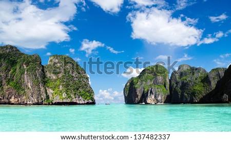 Maya bay Phi phi leh island Thailand - stock photo