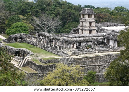 Maya city in Chiapas,Mexico Ruins of Palenque. The Palace observation tower - stock photo