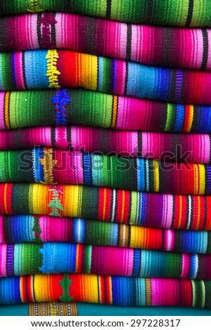 Maya indian textile colors in cloth display - stock photo