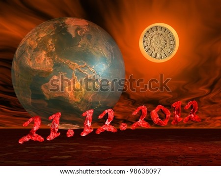 Maya prophecy on the sun next to the earth and the end of the world date in a firing red background - stock photo