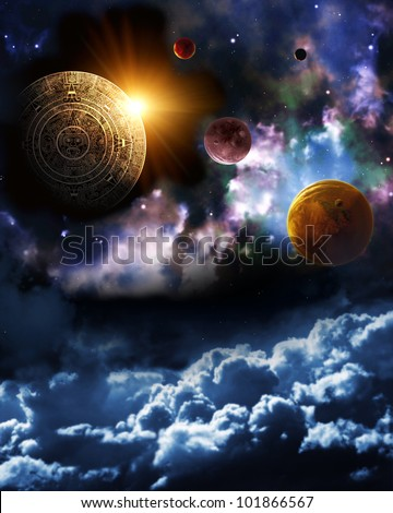Maya prophecy. Vertical background with space scene - stock photo