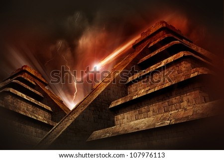 Mayan Apocalypse  - Mayan Pyramids, Lightning Storm and Asteroid Coming from the Space. Warm Red-Browny Movie Like Color Tones. Cool Armageddon Theme. - stock photo