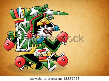 Mayan - Aztec Representation of a dog - stock photo