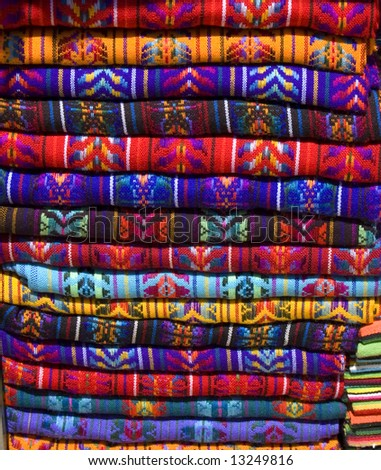 Mayan Blankets for sale in Chiapas, Mexico - stock photo