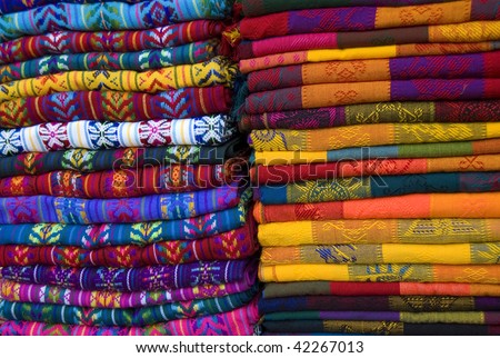 Mayan colorful blankets in a outdoor market in Chiapas, Mexico - stock photo
