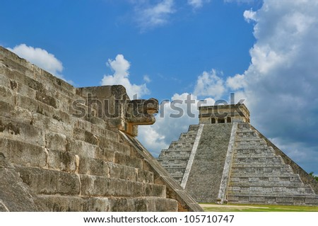 Mayan pyramid at Chichen Itza - stock photo