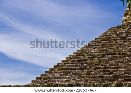 Mayan Pyramid Detail  - stock photo