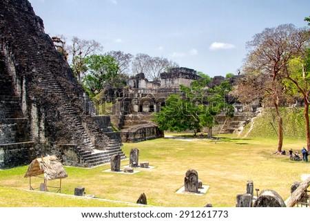 Mayan pyramids in Tikal, Peten region, Guatemala, Central America - stock photo