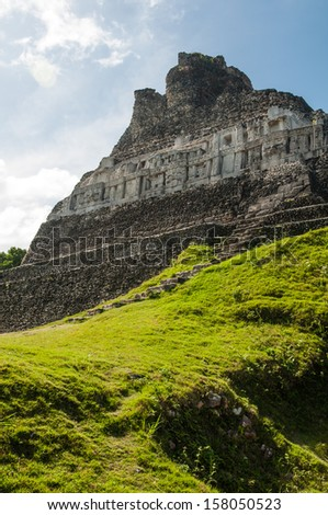 Mayan Ruin - Xunantunich in Belize - stock photo