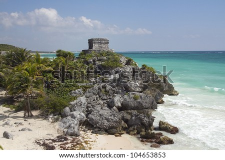 mayan ruins at tulum, mexico. the mayans believe that transformative events will occur on 21 december 2012 - stock photo