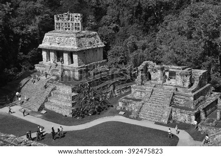 Mayan ruins in Palenque, Chiapas, Mexico. It is one of the best preserved sites, which contains interesting architecture and is popular tourist attraction. Black and white - stock photo