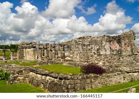 Mayan ruins in Tulum Mexico - stock photo
