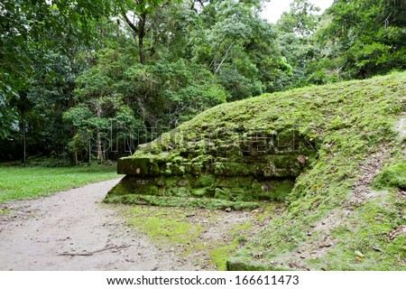 Mayan ruins of Tikal, Rocks covered in moss and vegetation - stock photo