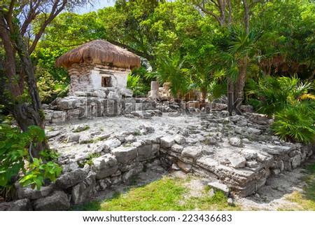 Mayan ruins of  Xaman Ha in Playa del Carmen, Mexico - stock photo