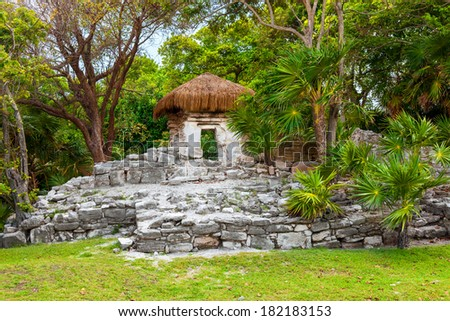 Mayan ruins of  Xaman Hai. In pre-Hispanic times acted as port to the island of Cozumel and it's currently the city of Playa del Carmen, in the Riviera Maya, Mexico - stock photo
