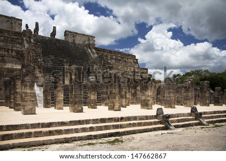Mayan steps and columns in Chichen Itza - stock photo