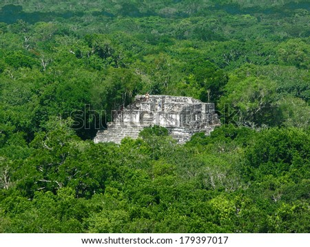 mayan temple at Calakmul, a mayan archaeological site in the mexican state of Campeche - stock photo