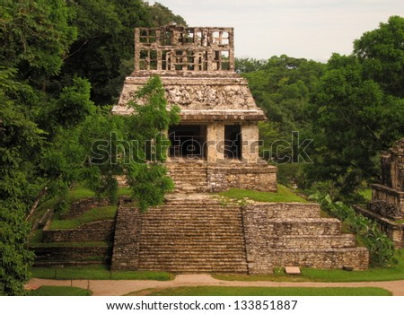 Mayan temple in Palenque - stock photo