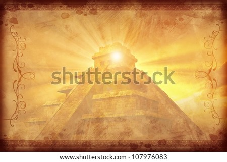 Mayan Vintage Background with Darker Ornaments. Gold-Browny Vintage Mayan Civilization with Mayan Pyramid Background. - stock photo