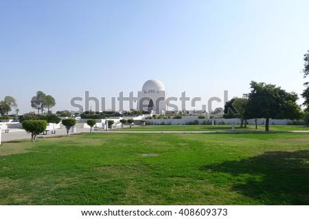 Mazar-e-Quaid - The most famous Mausoleum of the founder of Pakistan, Muhammad Ali Jinnah in Karachi - Pakistan - stock photo