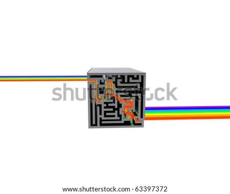 maze box with rainbow - stock photo