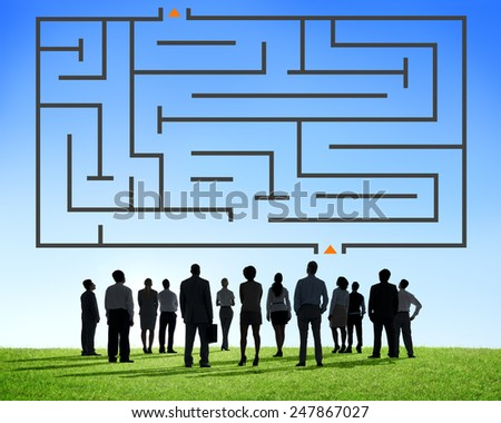 Maze Challenge Direction Concept - stock photo