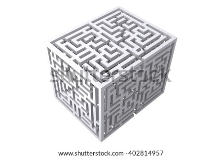 Maze cube on a white background - stock photo
