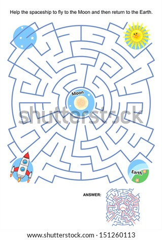 Maze game or activity page for kids: Help the spaceship to fly to the Moon and then return to the Earth. Answer included. For EPS format see image 151260104 - stock photo