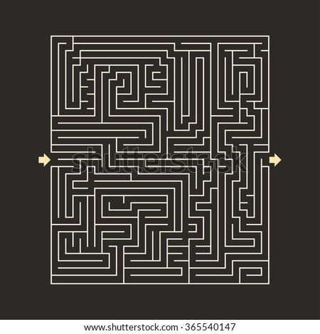 maze HARD design puzzle with specify input and output dark - stock photo