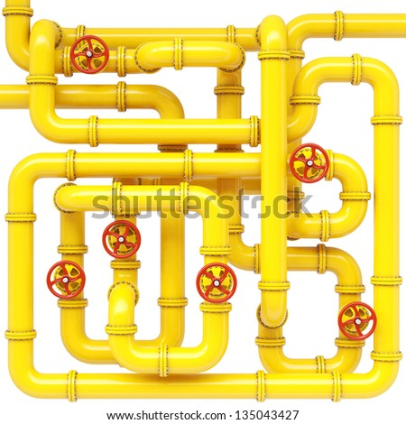 maze of gas pipes. Isolated on white. - stock photo