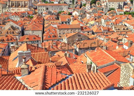 Maze of orange rooftops in the old town of Dubrovnik, Croatia - stock photo