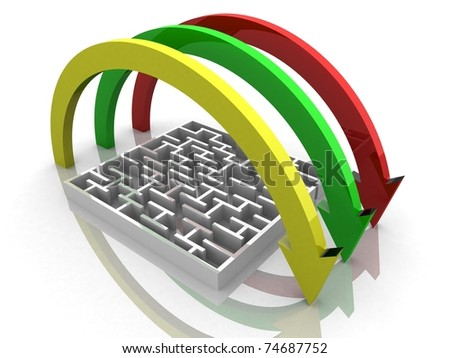 maze on which the arrows are - stock photo