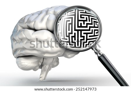 maze probleml on magnifying glass and human brain on white background - stock photo