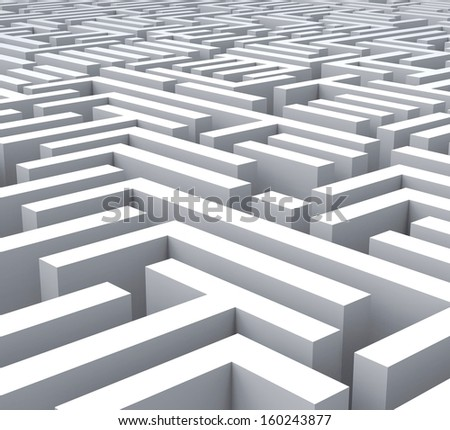 Maze Shows Problem Confusing Puzzling Or Complexity - stock photo