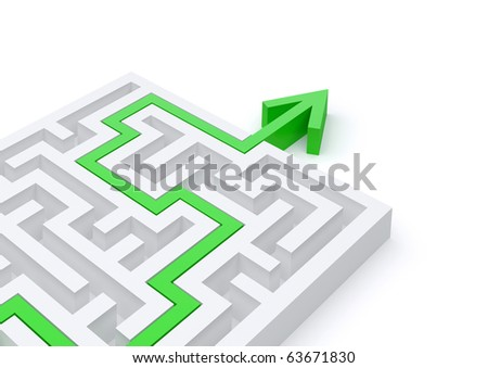 Maze solved by green arrow - stock photo