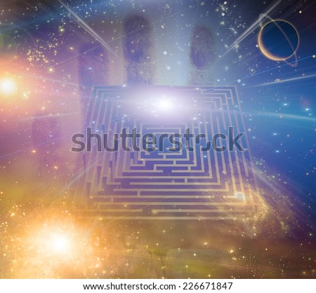 Maze stars and other elements Elements of this image furnished by NASA - stock photo