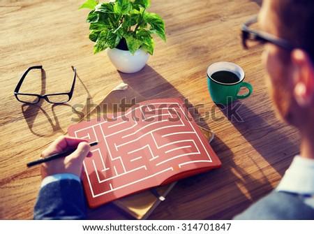 Maze Strategy Success Solution Determination Direction Concept - stock photo