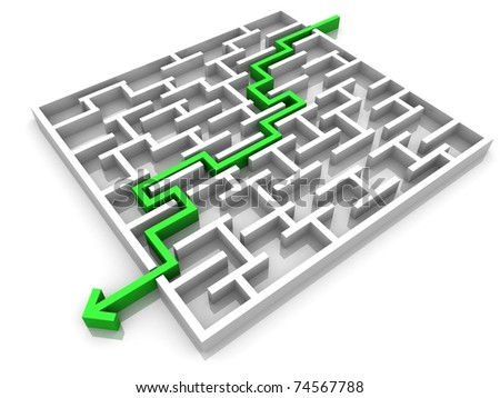 maze through which passes the way the arrow - stock photo