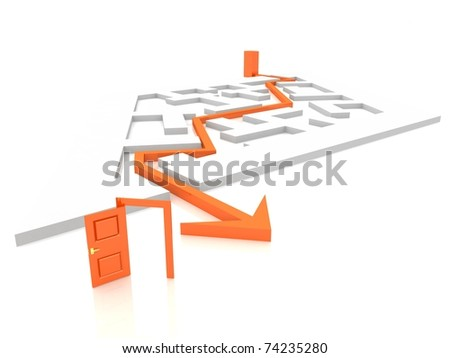 maze through which paved the way - stock photo