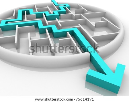 maze through which paved the way for the exit - stock photo