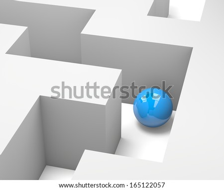 Maze with a Blue Ball 3D Illustration - stock photo