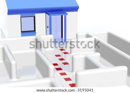 Maze with a house at the end. - stock photo
