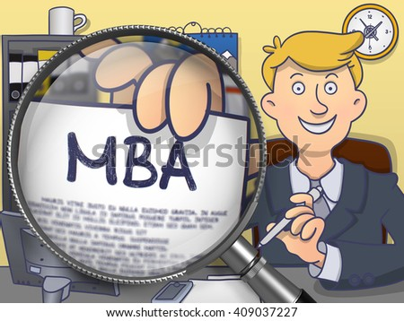 MBA - Master Administration Education. Business Man Welcomes in Office and Holds Out MBA Education Offer through Lens. Colored Modern Line Illustration in Doodle Style. - stock photo
