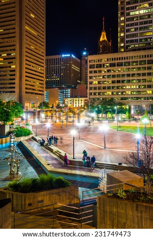 McKeldin Square at night in downtown Baltimore, Maryland. - stock photo