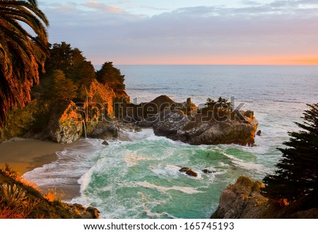 McWay Falls in Big Sur at sunset, California - stock photo