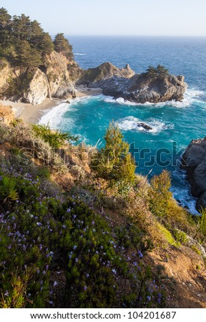Mcway falls - Pacific coast highway in spring - stock photo