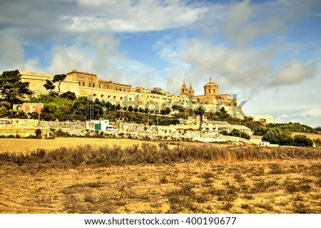 Mdina, a fortified silent city in Malta, It was formerly the capital city of Malta. - stock photo