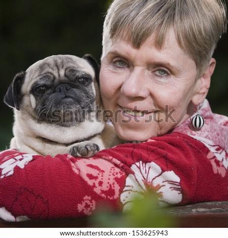 me and my pug dog - stock photo